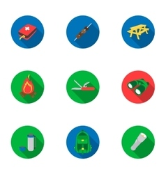 Camping set icons in flat style big collection of vector
