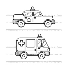 Cars coloring book for kids ambulance police vector