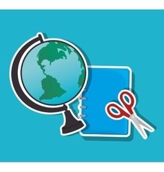cartoon globe and scissors notebook school icon vector image