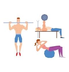 Cartoon sport gym people vector image