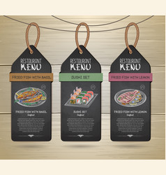 Chalk drawing restaurant label menu design vector