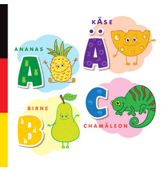 deutsch alphabet pineapple cheese pear vector image vector image