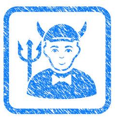 Devil framed stamp vector