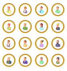 Different people icons circle vector