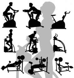 female exercise silhouettes vector image