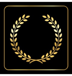 Gold laurel wheat wreath icon black vector image