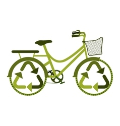 Green eco friendly bike with recycling symbol vector