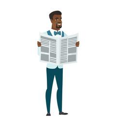 Groom reading newspaper vector