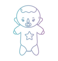 Line baby boy with pijama and pacifier vector