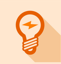 orange electric bulb icon flat style vector image vector image