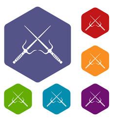 Pair of sai icons set hexagon vector