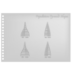 Paper art of 4 types of population pyramids graphs vector