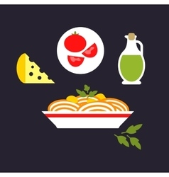 Pasta with cheese tomato olive oil parsley vector image