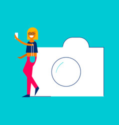 Photo sharing concept girl taking selfie on phone vector