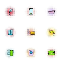 Sanitary appliances icons set pop-art style vector