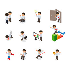 set of businessman character cartoon isometric vector image