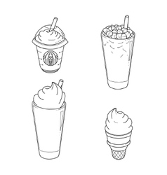 Set of differents sorts coffee with ice-cream vector