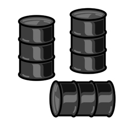 Silhouettes metal barrels for oil on white vector image