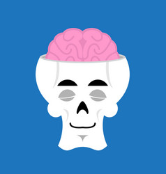 Skull and brain sleeps emoji skeleton head asleep vector