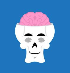 skull and brain sleeps emoji skeleton head asleep vector image vector image