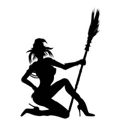 Witch girl striptease silhouette vector image
