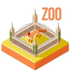 Zoo fox isometric icon vector