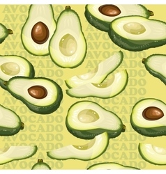 Seamless texture with avocado and slices on yellow vector