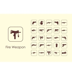 Set of fire weapon simple icons vector image