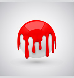 Ball with paint drops red vector
