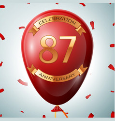 Red balloon with golden inscription 87 years vector