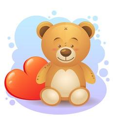 Cute teddy bear children toy with heart vector