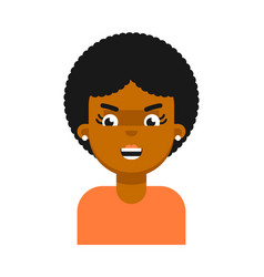 Evil facial expression of black girl avatar vector