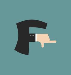 F letter businessman hand font it shows finger vector