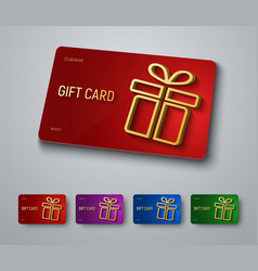 Gift card design with a gold 3d box with a shadow vector