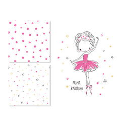 Prima ballerina surface design for kids and 2 vector