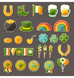 Saint Patricks Day sticker icons set vector image