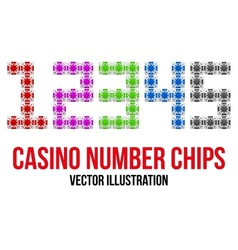 Square casino chip icons in the form of numbers vector