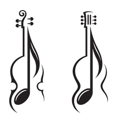 Violin guitar and note vector