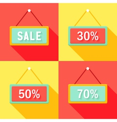 Yellow red cyan sale signs set vector