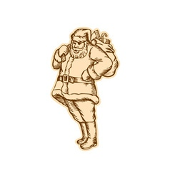 Santa Claus Father Christmas Standing Etching vector image