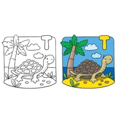 Little turtle coloring book alphabet t vector