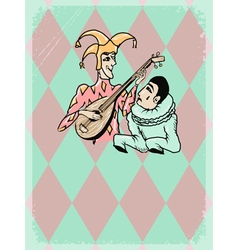 Harlequin and pierrot vector