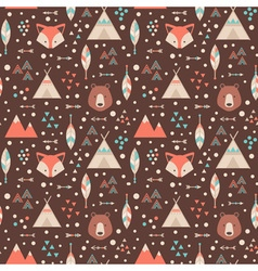 Cute geometric seamless pattern in cartoon style vector