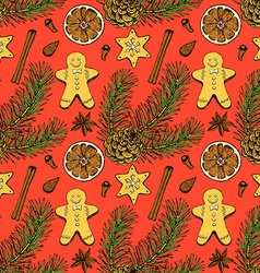 Sketch christmas seamless pattern vector