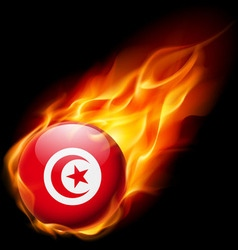 Round glossy icon of tunisia vector