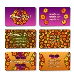 Six templates and cards with pumpkins vector