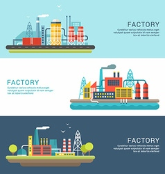 Set of industrial factory buildings flat style vector