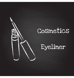 Eyeliner painted with chalk on blackboard vector