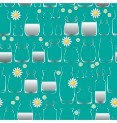 Seamless pattern with jars and flowers vector