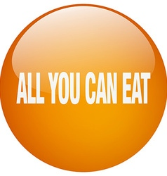 All you can eat orange round gel isolated push vector